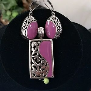 Jewelry - Sterling Silver & Purple Pendant Set